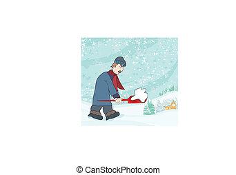 calle, invierno, hombre de la nieve, mover pala