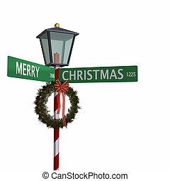 calle, navidad, señal