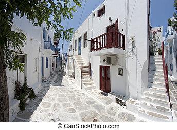 calle, típico, mykonos