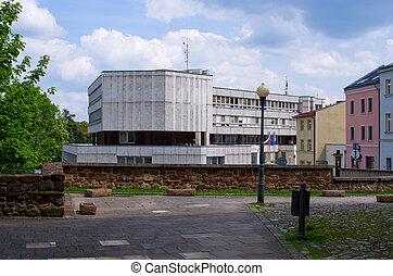 calles, checo, edificio, trutnov, república, comunista