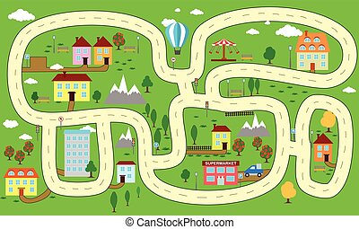 Mapa Ciudad Para Niños.Ciudad Encantador Mapa De Camino Plano Mapa Diseno