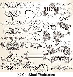 calligraphic, årgång, vektor, design