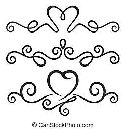 calligraphic, éléments, floral