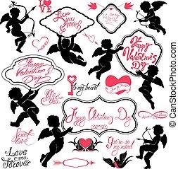 calligraphic, éléments, texte, heureux, petite amie, carte, jour, mignon, oiseaux, isolé, elements., ensemble, anges, vacances, cœurs, conception, arrière-plan., blanc