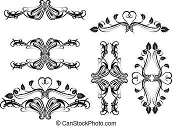 calligraphic, μαύρο , σχεδιάζω , element., άσπρο