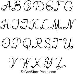 calligraphic, アルファベット