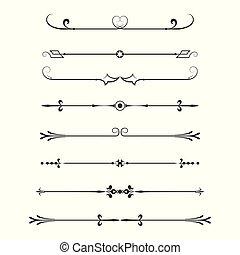 calligraphic, セット, dividers-, 要素