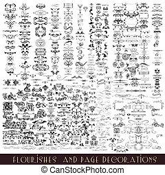 calligraphic, ベクトル, コレクション, ∥あるいは∥, 装飾用である, flourishes, 要素, デザイン, mega, セット