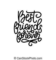calligraphic, 日, 友人, カード, 永久に, 最も良く, ∥など∥., デザイン, 友情, ベクトル, lettering., 挨拶, ポスター, お祝い, 手