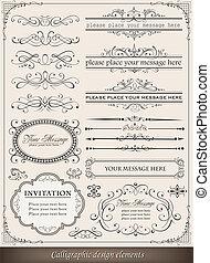 calligraphic, 要素を設計しなさい, そして, ページ, 装飾