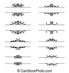 calligraphic, 要素, デザイン, ページ, セット, 装飾