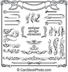 calligraphic, 設計元素, 頁, 裝飾, 集合