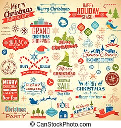 Calligraphic and typographic design for Christmas decoration
