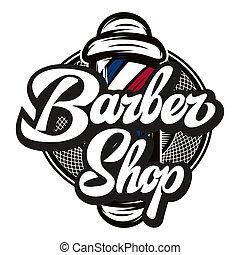 calligraphic, barbiere, vettore, iscrizione, polo, ...