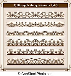 Calligraphic border set. Vector horizontal seamless lace borders