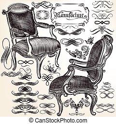 calligraphic, chears, flourishes, vektor, gyűjtés