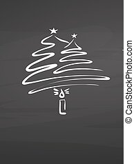 Calligraphic christmas tree and candle on chalkboard