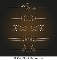 Calligraphic decor design elements. corners, swirls, frames