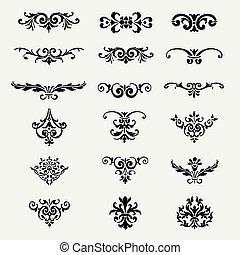 Calligraphic Decorative Design Elements Vintage Vector Illustration