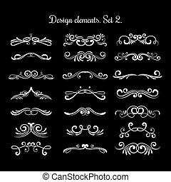 Calligraphic decorative scroll elements. Vector hand calligraphy design items