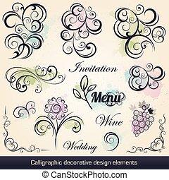 calligraphic, desenho decorativo, elementos