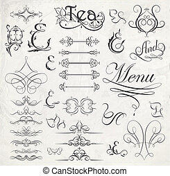 calligraphic design elements and page decoration. Vector ...