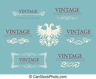 Calligraphic design elements. Baroque vintage set