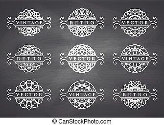 Calligraphic design elements. Vector set on chalkboard...