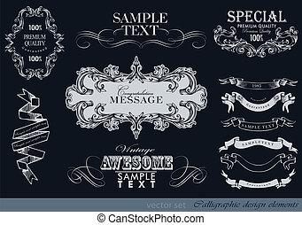 calligraphic design elements, page decoration