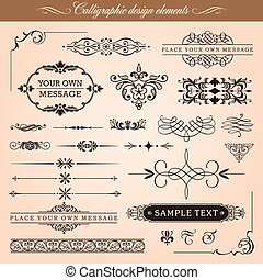 Set of vector calligraphic design elements and page decoration: vignettes, borders, ornaments.