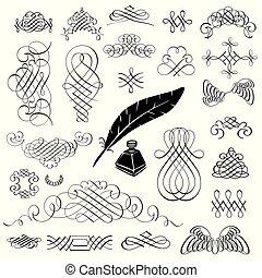 Calligraphic design elements set