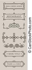 Calligraphic design elements. Vector baroque set