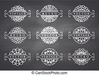 Calligraphic design elements. Vector set on chalkboard background