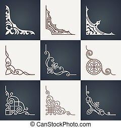 Calligraphic design elements. Vintage corners set