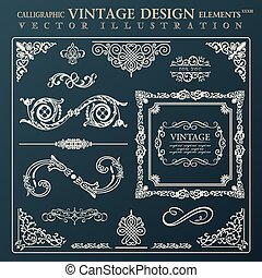 Calligraphic design elements vintage ornament. Vector frame deco