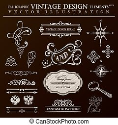 Calligraphic design elements vintage set. Vector ornament frame