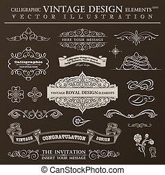 Calligraphic design elements vintage set. Vector ornament frames