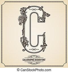 Calligraphic Design Font.  Letter C