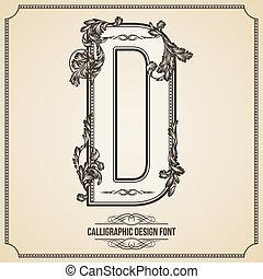 Calligraphic Design Font.  Letter D
