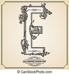 Calligraphic Design Font.  Letter E