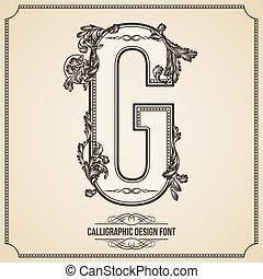 Calligraphic Design Font.  Letter G