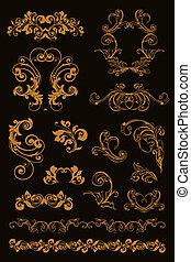 Calligraphic design, set on black