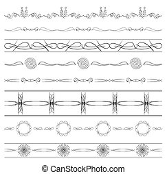 calligraphic dividers - vector set of borders