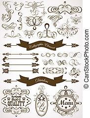 calligraphic, e, floreale, elemento