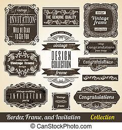 calligraphic, element, gräns, hörna, ram, och, inbjudan,...