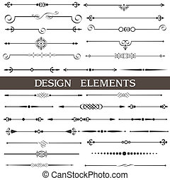 calligraphic, elementos, página, decoração, jogo, vetorial, desenho