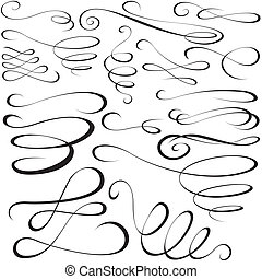 Calligraphic elements - black design elements, illustration ...