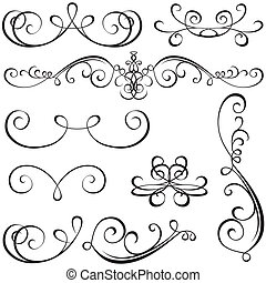 Calligraphic elements - black design elements, illustration...