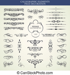 CALLIGRAPHIC ELEMENTS - Vector set calligraphic element and...