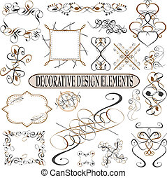 calligraphic elements vintage ornament set. Vector frame